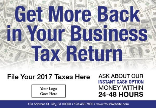 tax postcard template 04 blue