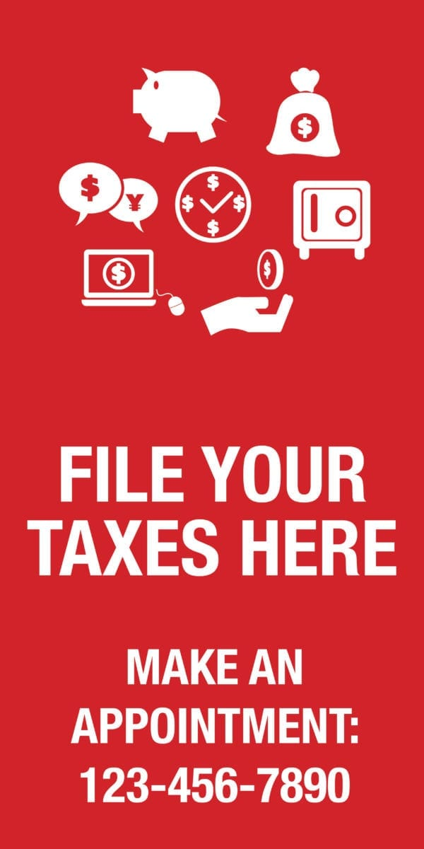 tax banner template 12 red