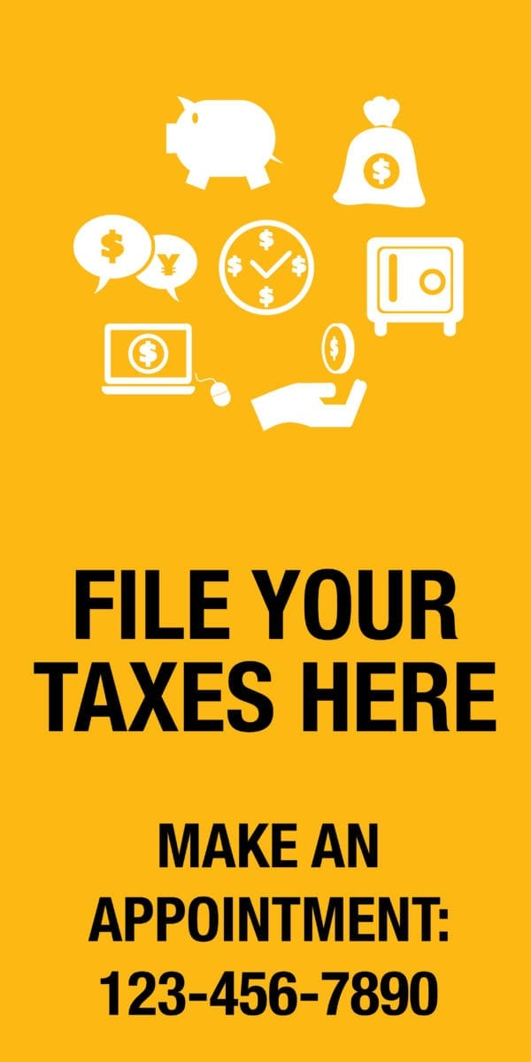 tax banner template 12 yellow
