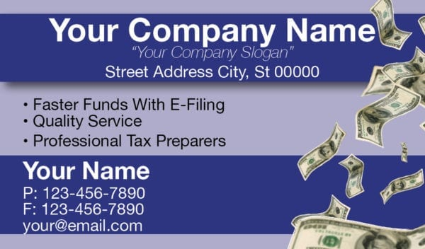 tax business card template 08 blue
