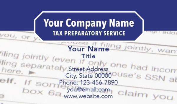 tax business card template 12 blue