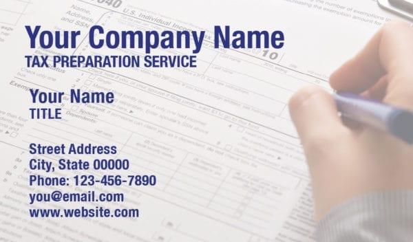 tax business card template 13 blue