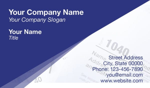tax business card template 14 blue