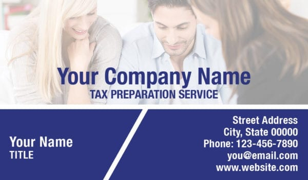 tax business card template 15 blue