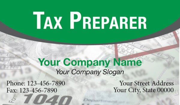 tax business card template 02 green