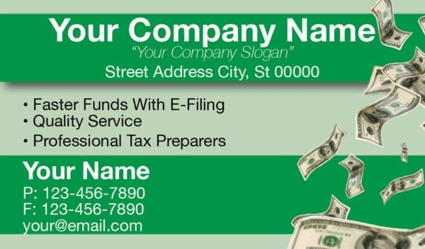 tax business card template 08 green