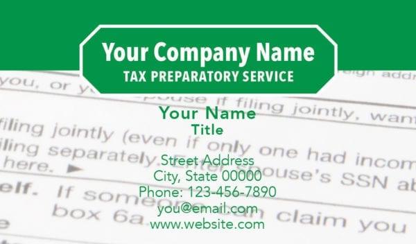 tax business card template 12 green