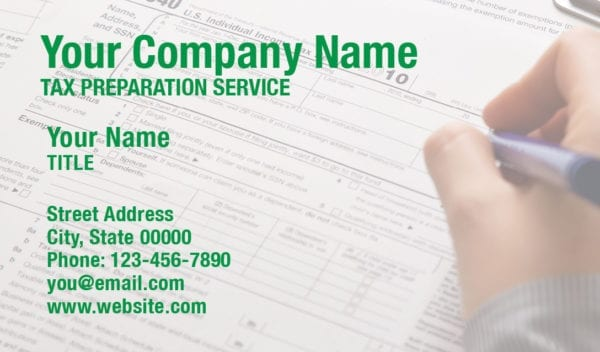 tax business card template 13 green