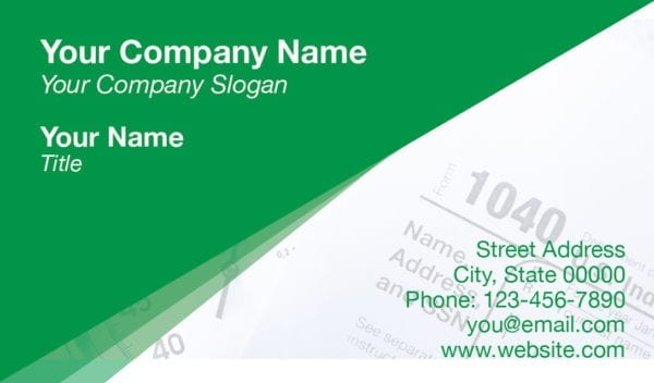 tax business card template 14 green