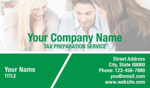 tax business card template 15 green