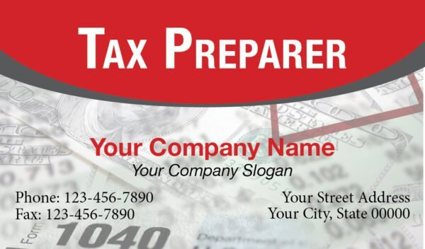 tax business card template 02 red