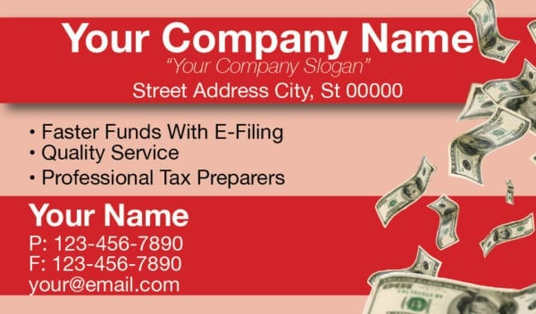 tax business card template 08 red