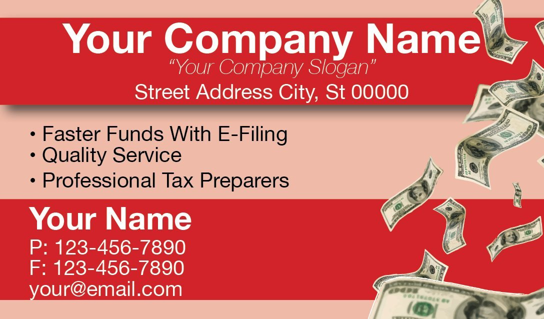 Tax Business Card Template 08 1040