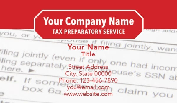 tax business card template 12 red