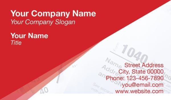 tax business card template 14 red