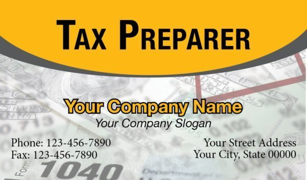 tax business card template 02 yellow