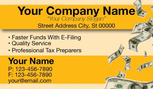 tax business card template 08 yellow