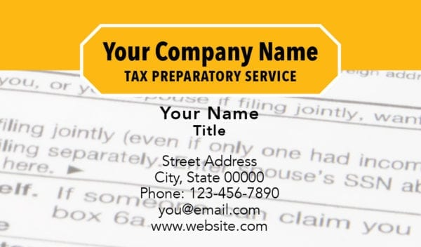 tax business card template 12 yellow