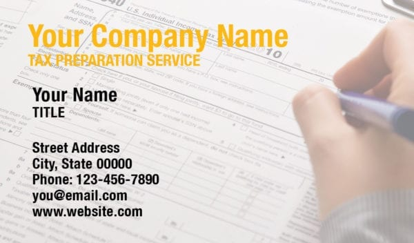 tax business card template 13 yellow