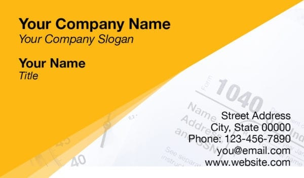tax business card template 14 yellow