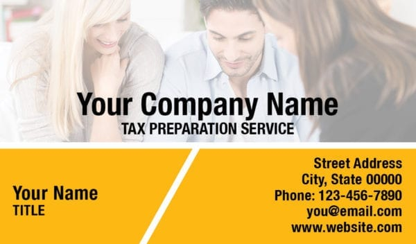 tax business card template 15 yellow
