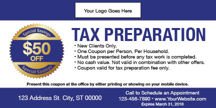 tax coupon template 01 blue