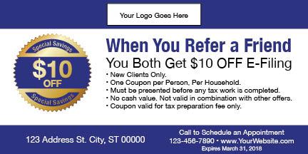 tax coupon template 10 blue