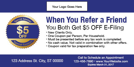 tax coupon template 11 blue