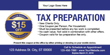tax coupon template 04 blue