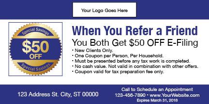 tax coupon template 08 blue