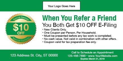 tax coupon template 10 green