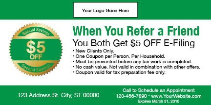 tax coupon template 11 green