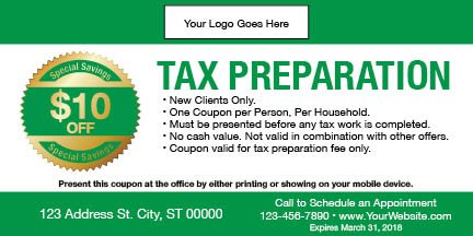 tax coupon template 05 green