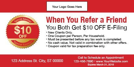 tax coupon template 10 red