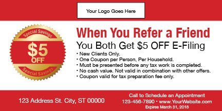 tax coupon template 11 red