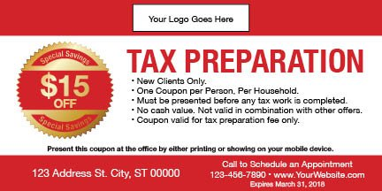 tax coupon template 04 red