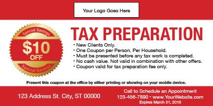 tax coupon template 05 red
