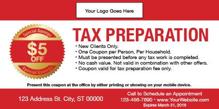 tax coupon template 06 red