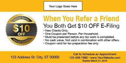 tax coupon template 10 yellow