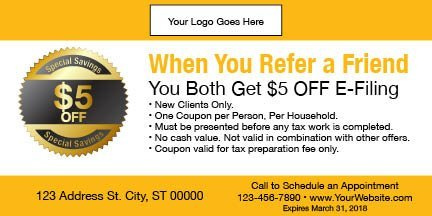 tax coupon template 11 yellow