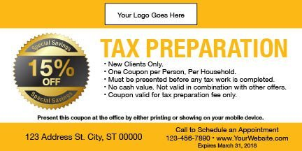 tax coupon template 02 yellow
