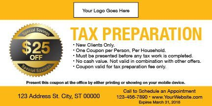 tax coupon template 03 yellow