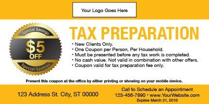 tax coupon template 06 yellow