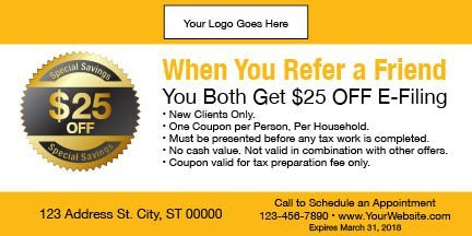 tax coupon template 07 yellow
