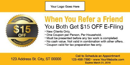 tax coupon template 09 yellow