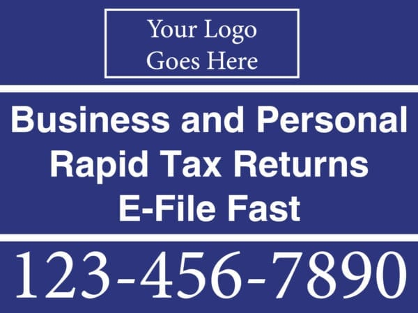 tax lawn sign template 02 blue