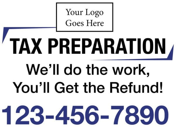 tax lawn sign template 06 blue