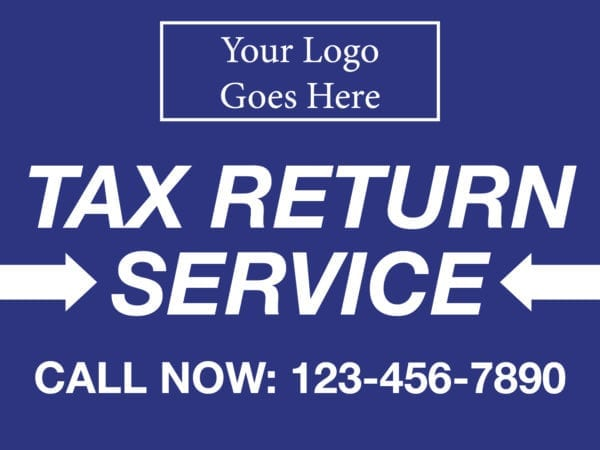tax lawn sign template 10 blue