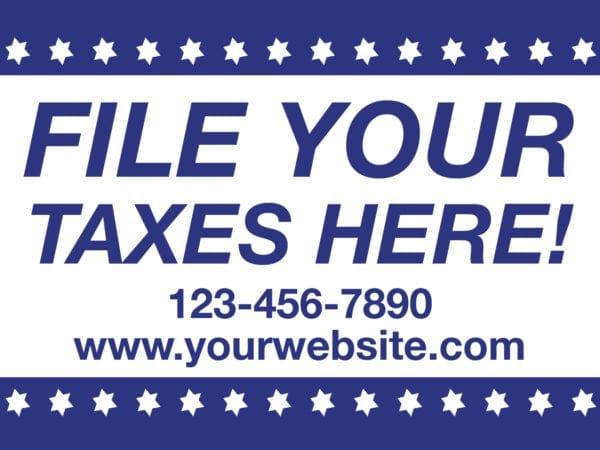 tax lawn sign template 12 blue