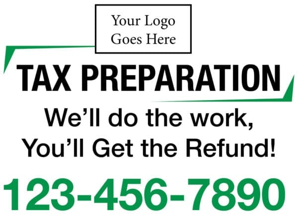 tax lawn sign template 06 green